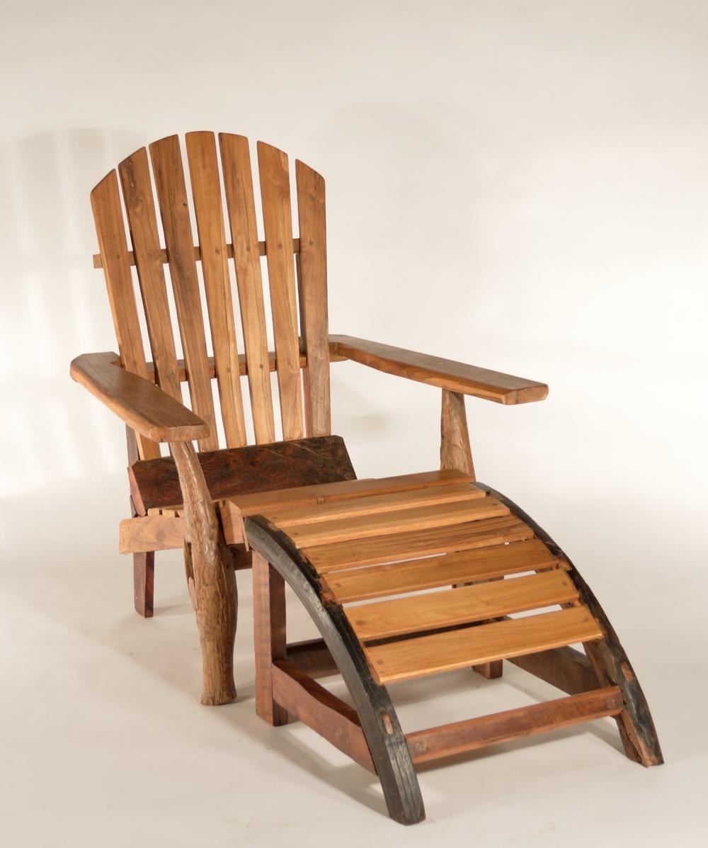 Teak Adirondack Chair and Ottoman