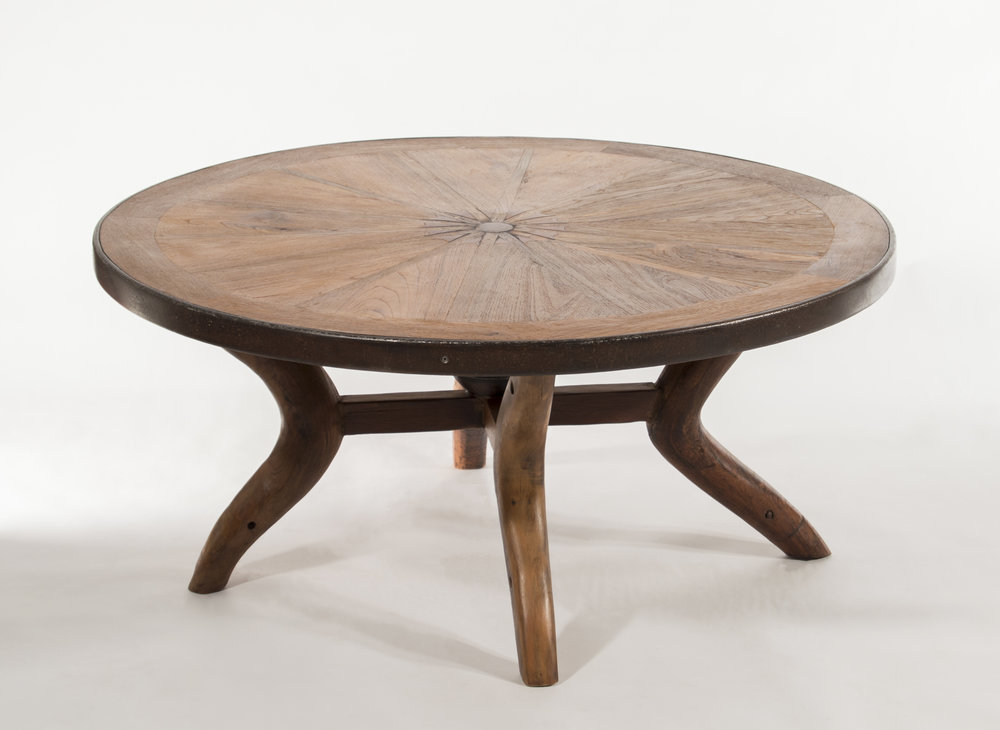 Teak West   Wagon Wheel Coffee Table