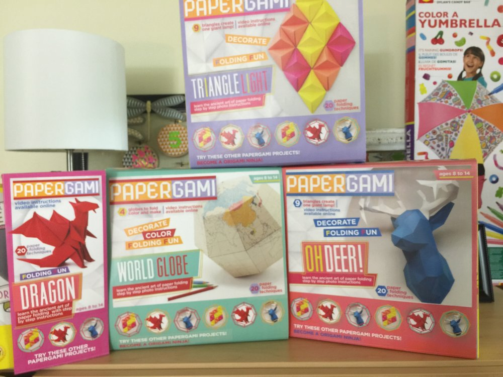 """Papergami"" Creative Dimensional Origami Crafts Mockups - This was a concept ""Pitch"" that never went to market. (The images were FPO, but concept and packaging was developed by me) You've got to pour through loads of ideas to identify what works! It was fun none-the-less."