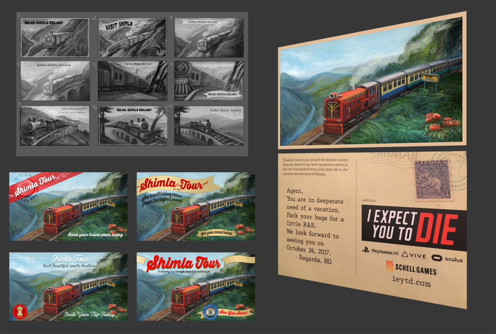 """I Expect You To Die"" First Class: Post Card Designs (VR Title, Schell Games)"