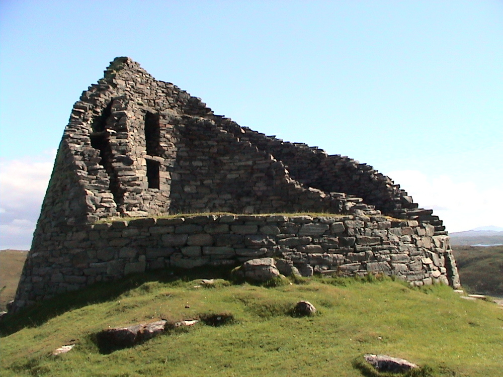 From Wikipedia: Dun Carloway (Dùn Chàrlabhaigh) is a broch situated in the district of Carloway, on the west coast of the Isle of Lewis. It is a remarkably well preserved broch - on the east side parts of the old wall still reach to 9 metres tall.