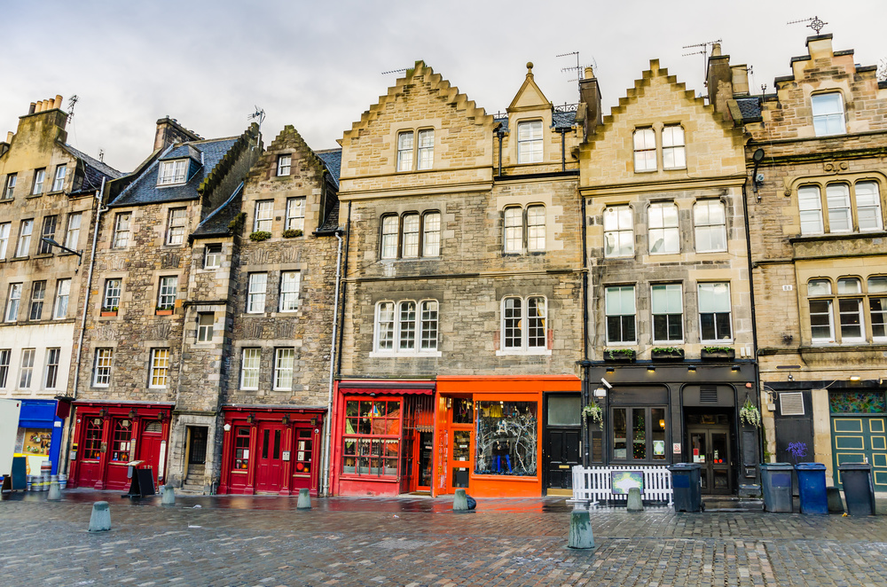 Edinburgh is rich in a variety of architectural styles. Here is a row of townhomes with their accompanying ground floor shops...
