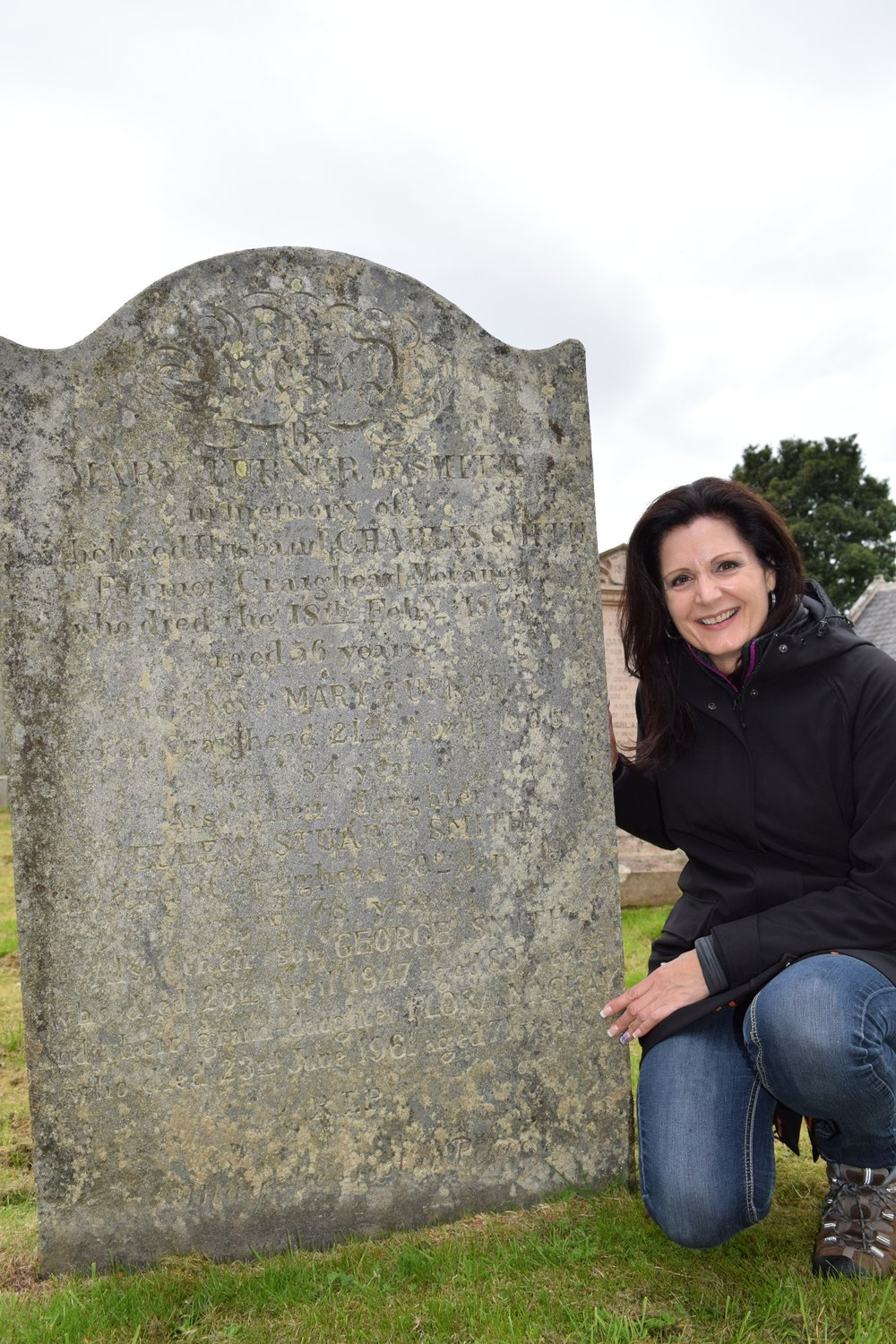 Theresa Mackay at the gravesite of her ancestor and innkeeper, Flora Mackay. Photo contributed by Theresa Mackay