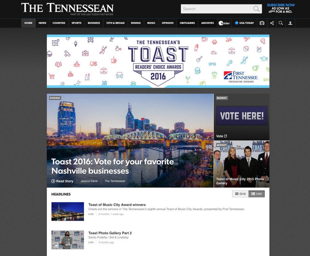 THE TENNESSEAN / TOAST OF MUSIC CITY  Section