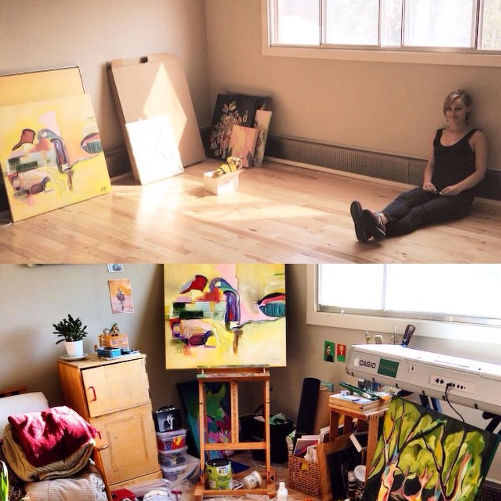 I did some lookin' to find a snippet of her world. This is where her and her super rad boyfriend once lived. The top photo I can only assume was on moving day, and there below is what once was her creation landscape.