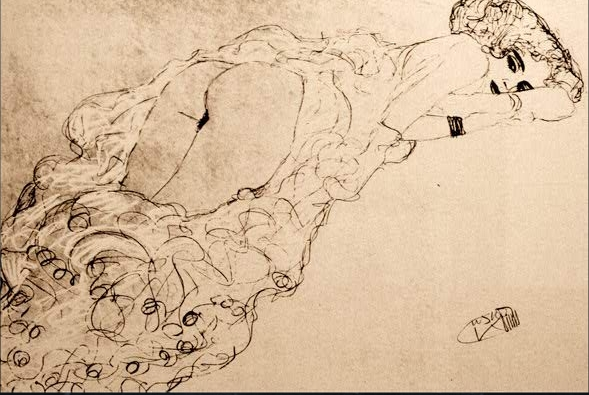 A semi nude drawing by Gustav Klimt.