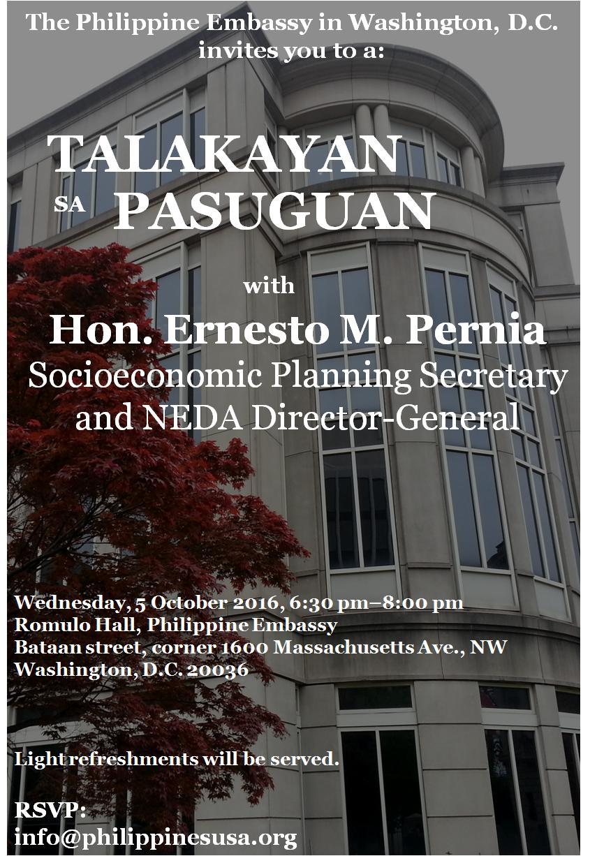 """Talakayan sa Pasuguan"""" with Hon  Ernesto M  Pernia — DC"""