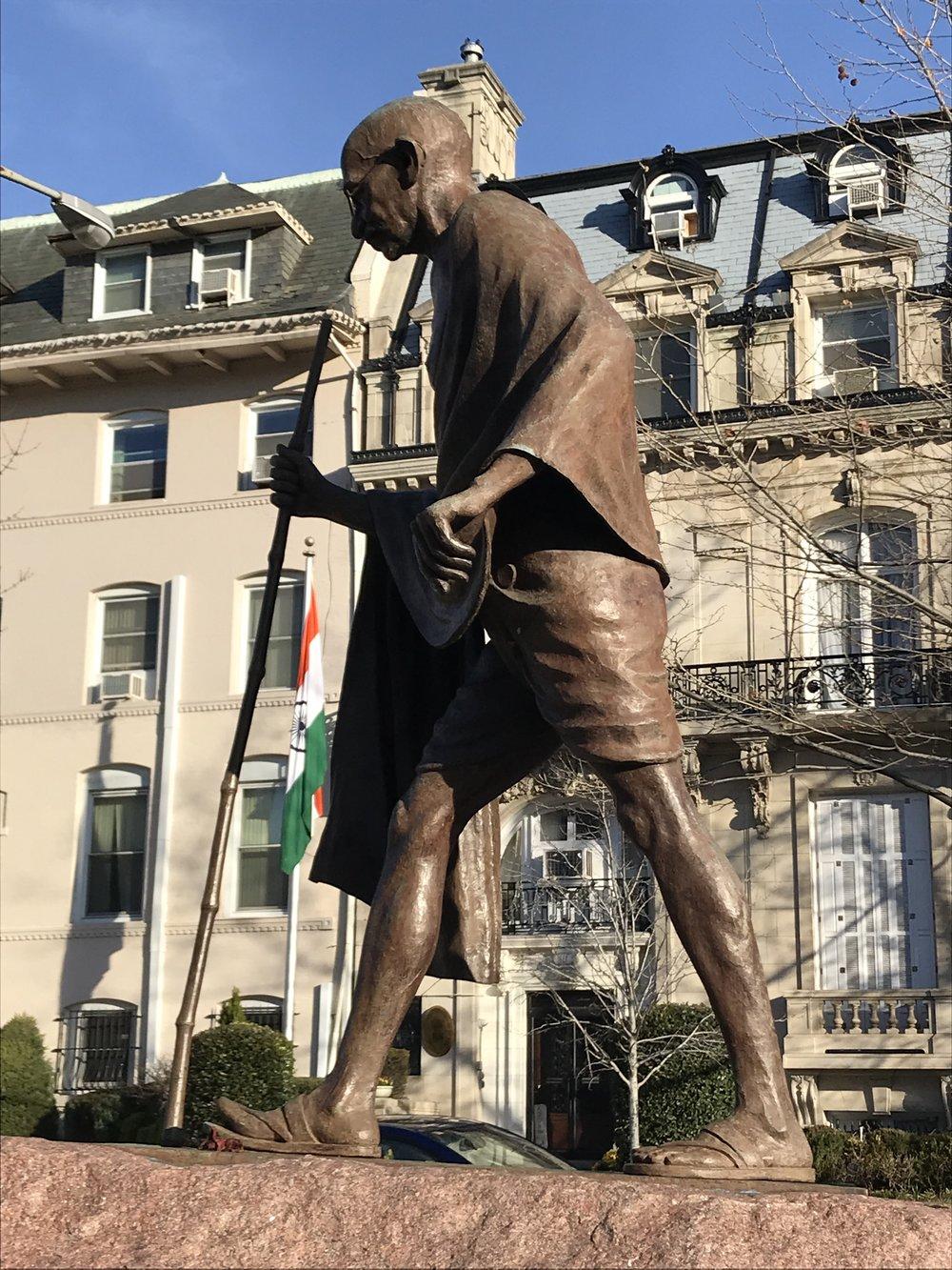 Mohandas K. Gandhi statue outside the Embassy of India.