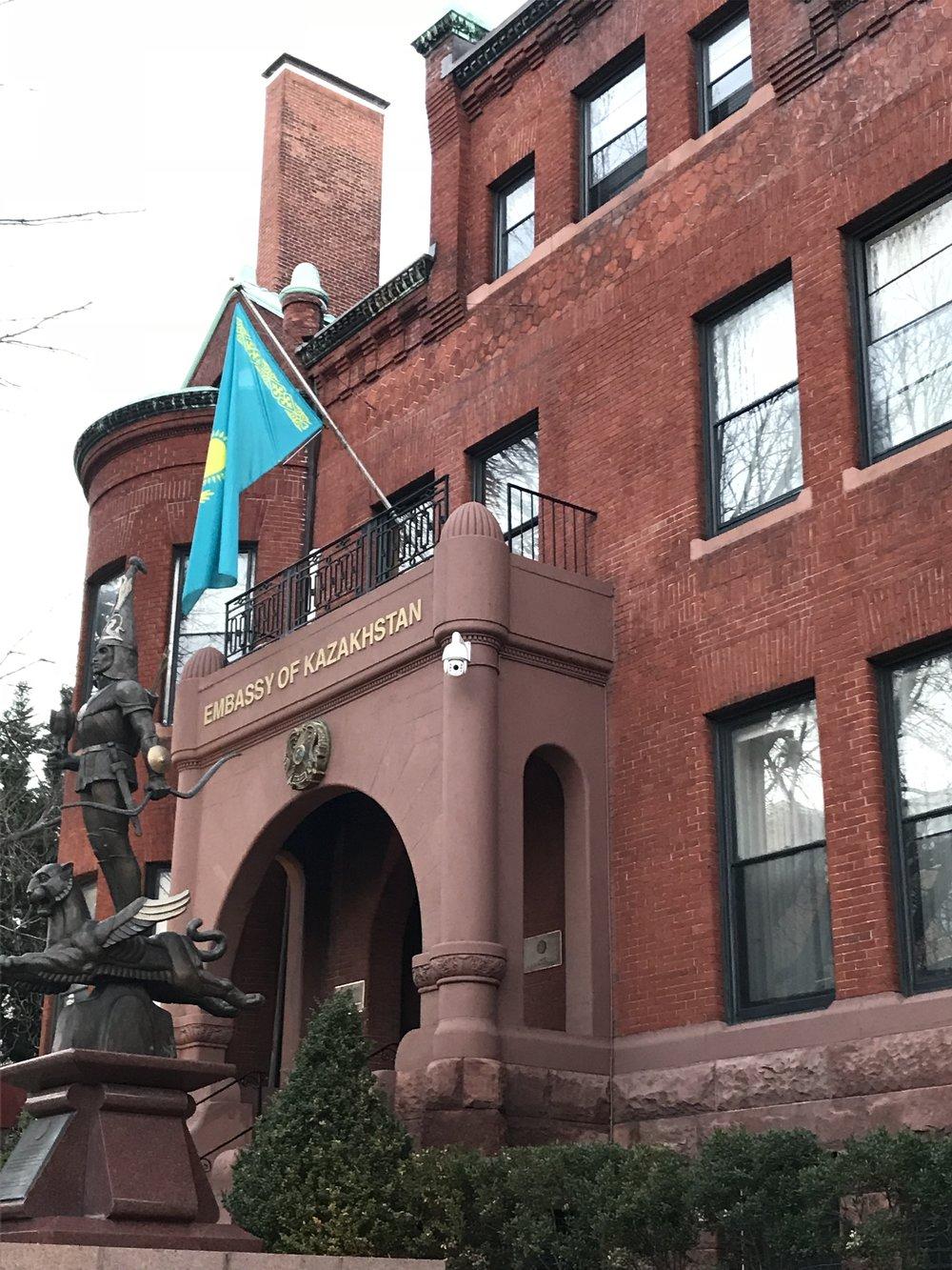 The Golden Warrior statue outside the Embassy of Kazakhstan.