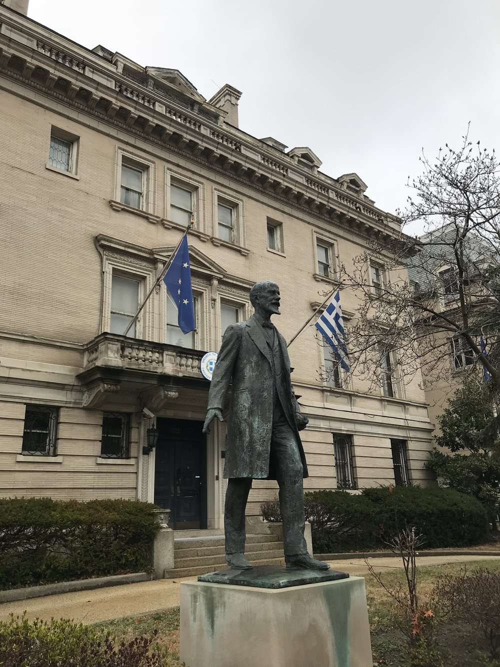 Statue of former Prime Minister Venizelos outside the Embassy of Greece.