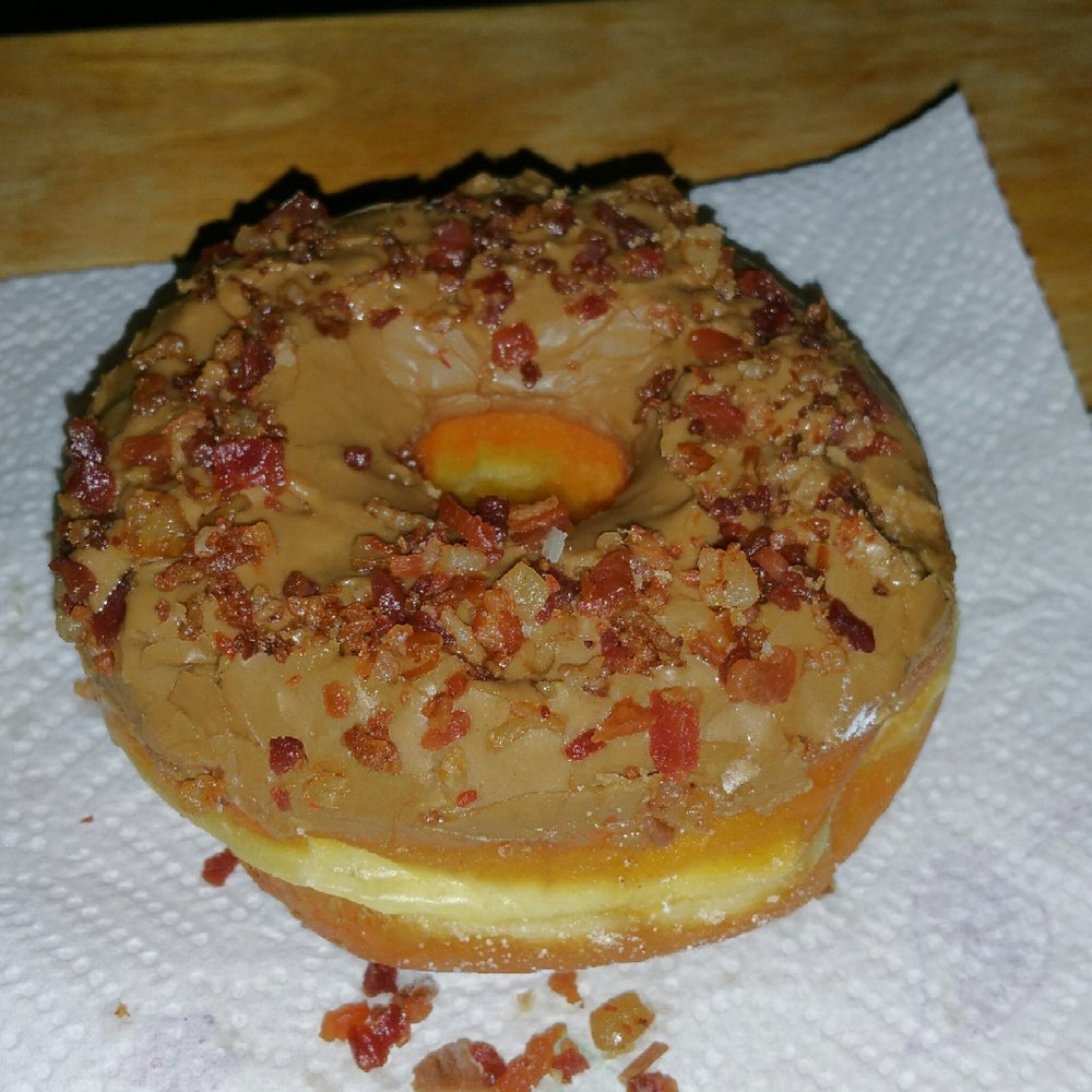 Get this while they have them in the morning or you will be missing out in life! Maple with bacon bits - Josh
