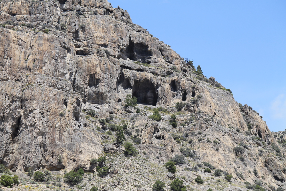 Caves etched into King Top cliffs.