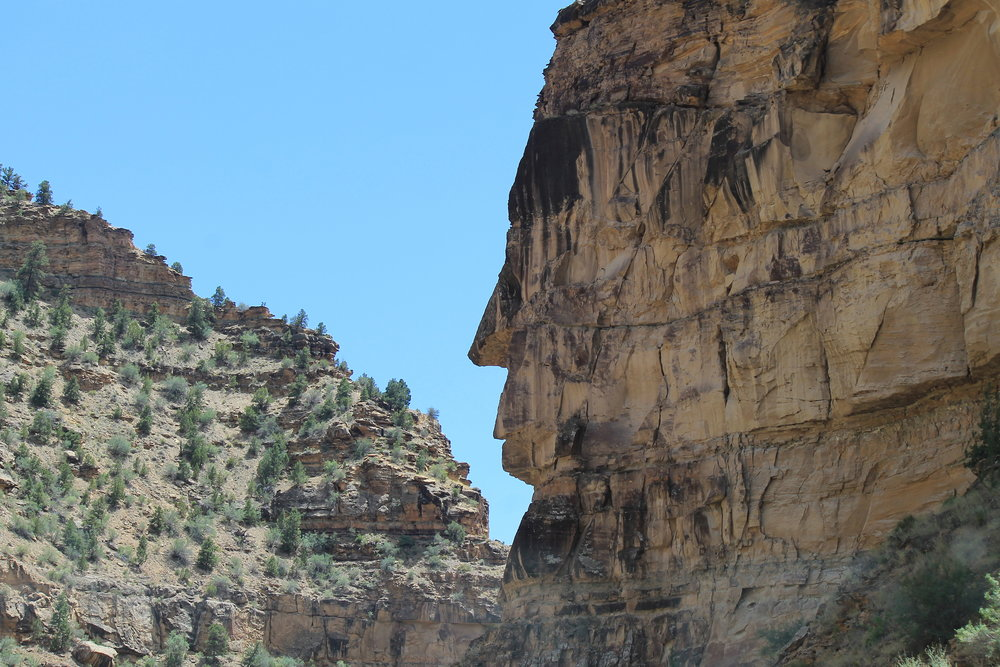 Stone face guards the gateway to Cottonwood Canyon