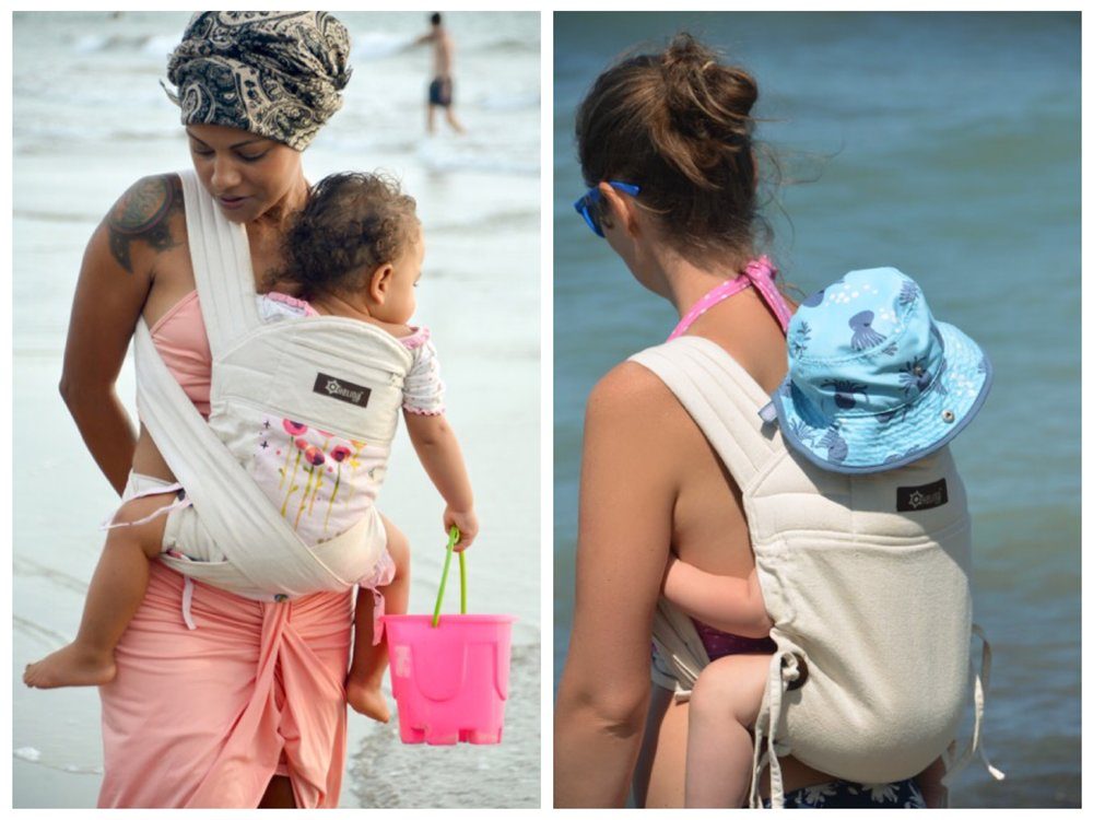 The biggest complaint about babywearing is feeling overheated.  The Helina Baby carrier uses breathable natural undyed cotton, which shields the baby, deflects heat, and is exceptionally comfortable during the summer months.