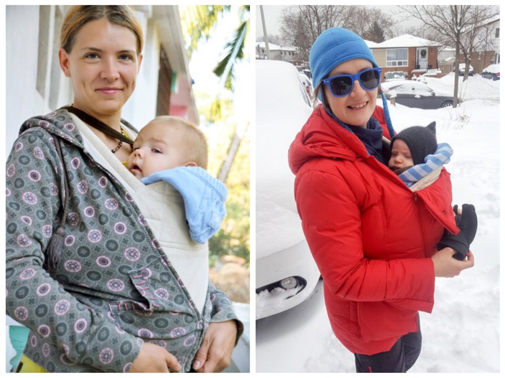 In cold and inclement weather when it is necessary to bundle up, the Helina  Baby carrier doubles as an extra soft breathable layer of clothing. Due to its lightweight design, the Helina Baby carrier can be worn under your jacket, since there are no bulky straps nor plastic buckles to obstruct your comfort and fit.