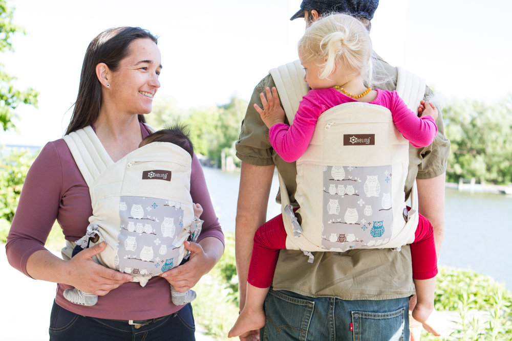 It is common to see infants being placed in carriers that are too large for them.  Babies must be visible and kissable and not obstructed by their carriers.  Transporting your infant in Helina Baby carrier offers peace of mind, and gives a small baby a soothing and supportive environment to thrive. It is soft and padded and adjusts in height and width to the exact size of your growing baby.  No infant insert needed and no need to own many carriers because you can always readjust the carrier as your child grows into toddlerhood.
