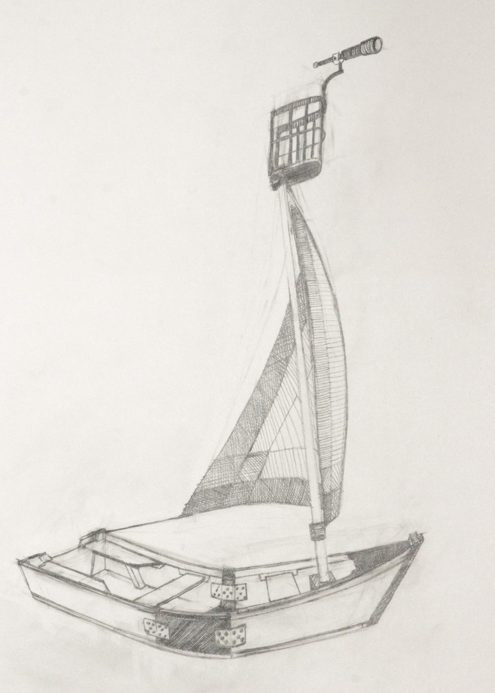 Île de Montréal. Seconde ébauche, crayon de mine sur papier.