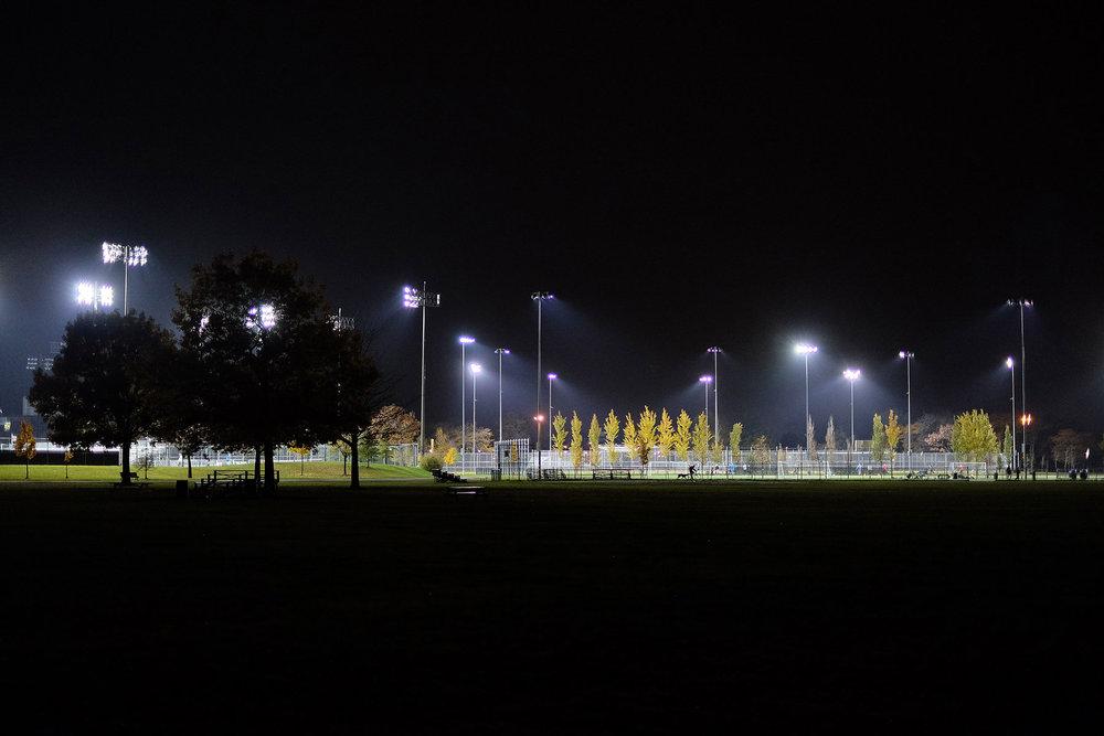 Le parc Jarry la nuit fatidique de l'élection de Donald Trump. Tout semblait pourtant paisible.