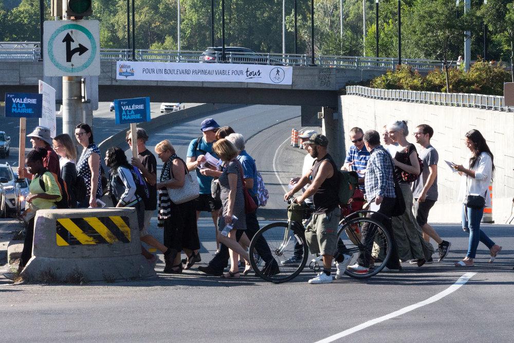 Mobilisation pour des transports alternatifs collectifs et actifs sur l'axe Papineau-A19.