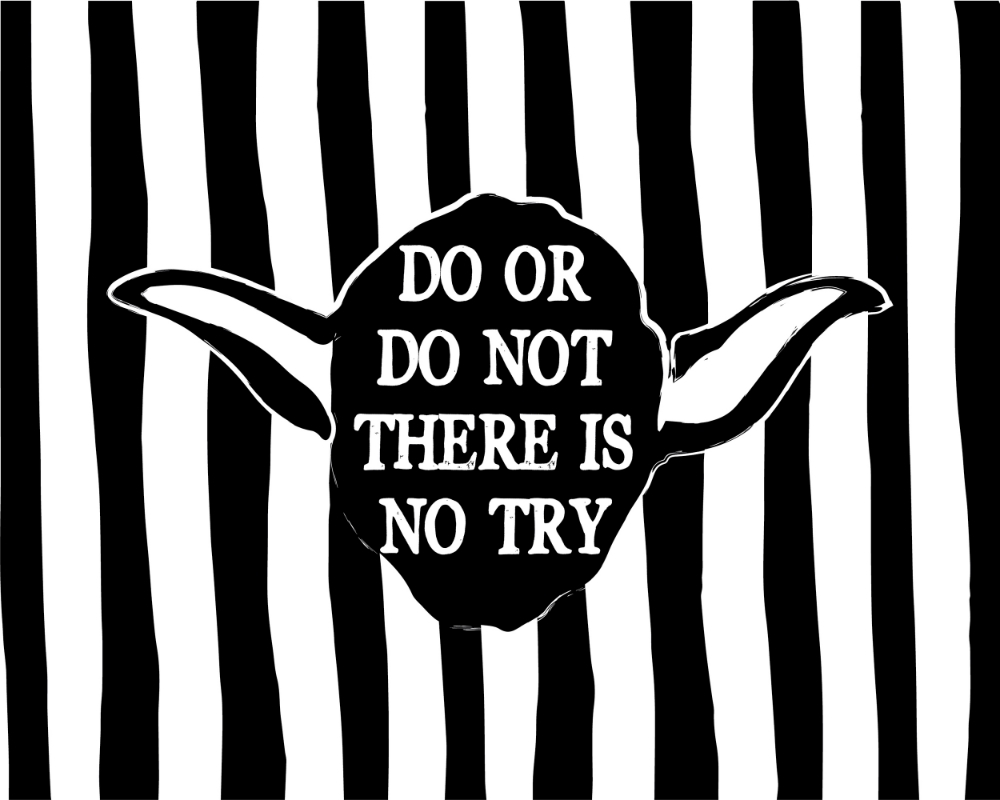 Here's a free Yoda quote and printable for you to have. (Obviously you know that Star Wars is heavily copyrighted and you're not allowed to make a profit off of this...but I thought I'd throw in a little reminder that it's for personal use only.) Click the image to take you to a high-res pdf download.