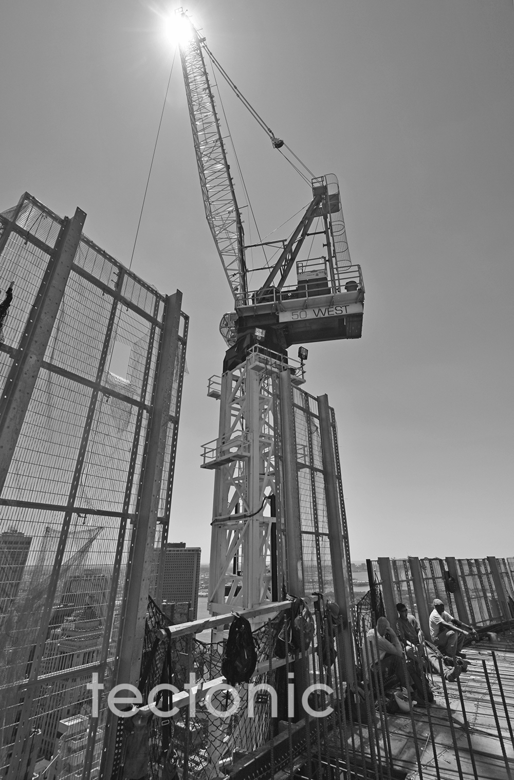 Tower crane in the summer sun