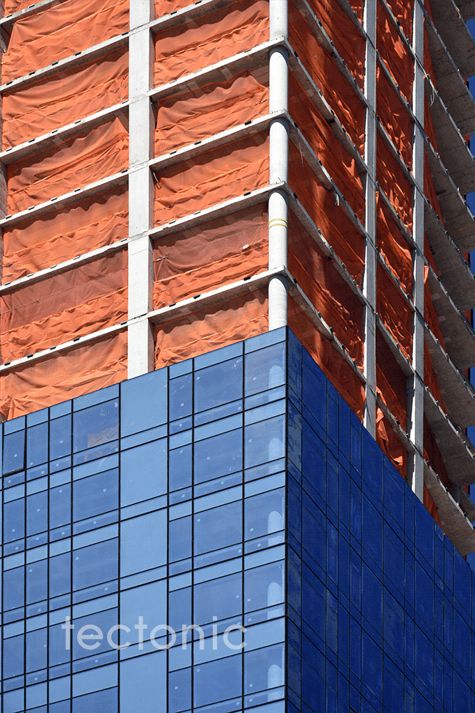 Close-up of the glass facade