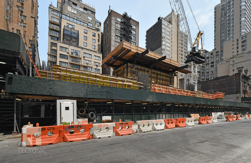 Tower section rising along West 58th Street