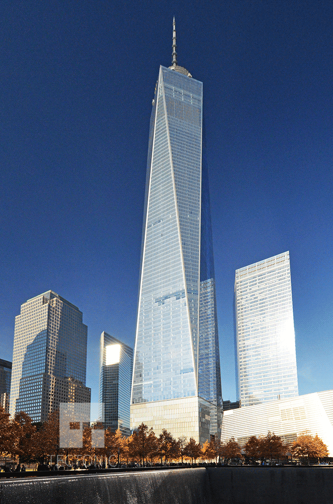 Viewed across the 9/11 Memorial in November 2014