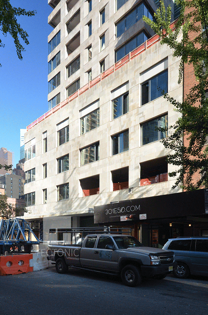 Base along East 50th Street in October 2014