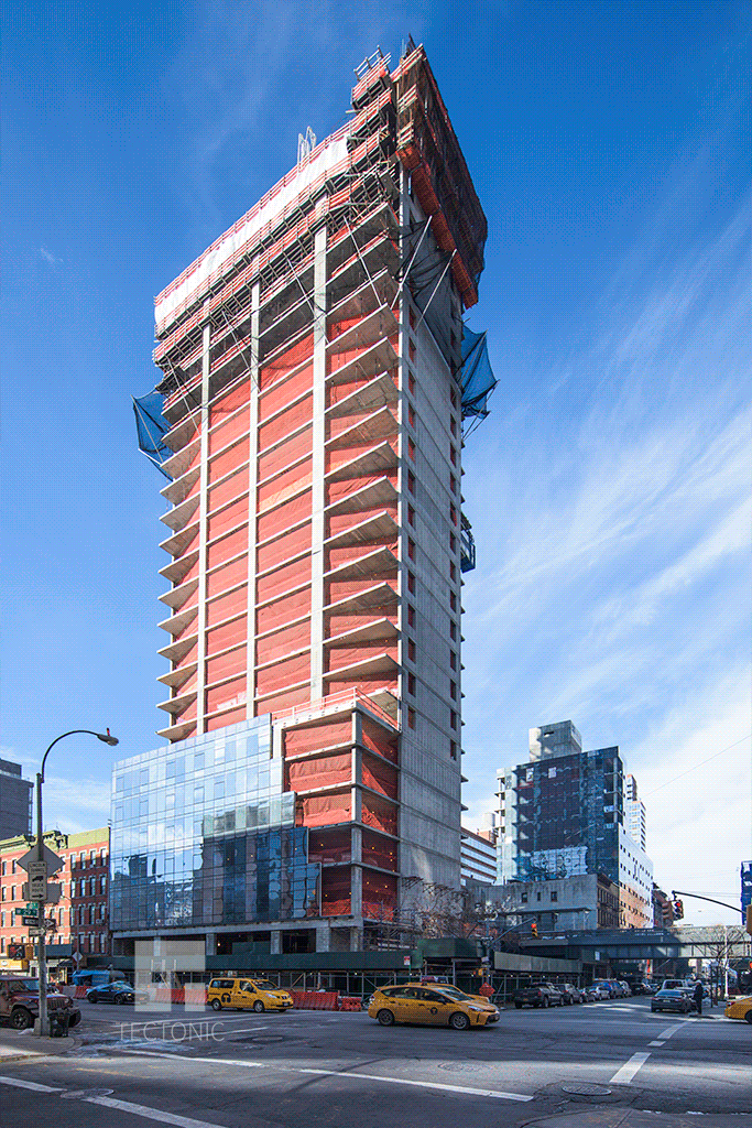 View of the project from 10th Avenue looking westward