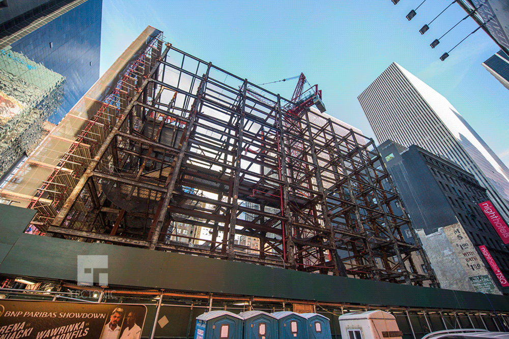 Looking up from West 47th Street
