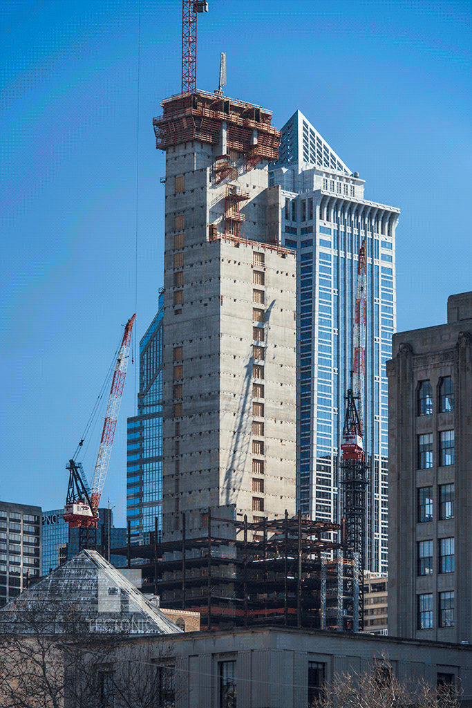 Core construction viewed from the northwest
