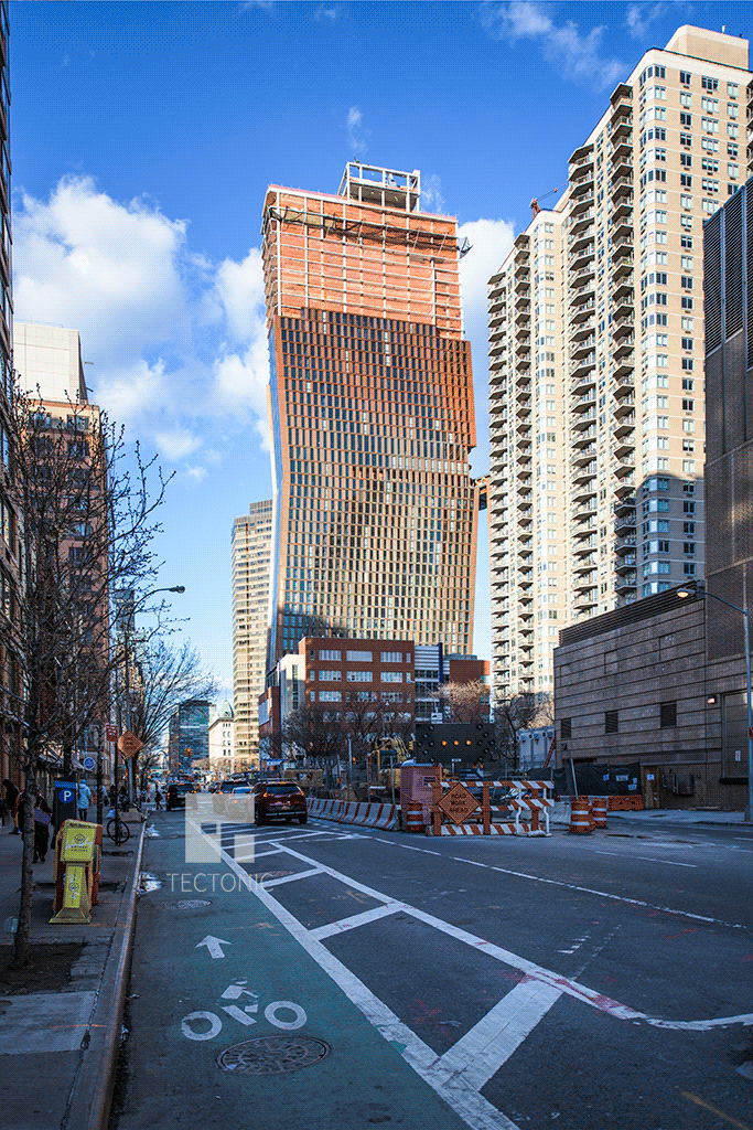 North tower from the southwest along 1st Avenue