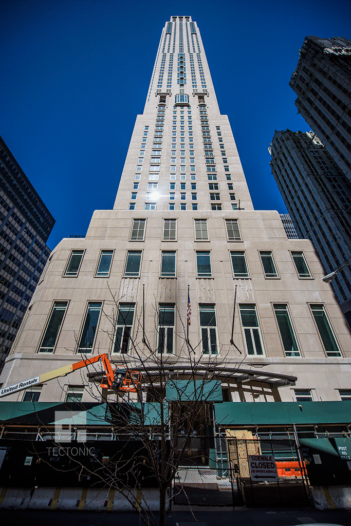 Looking up from Barclay Street