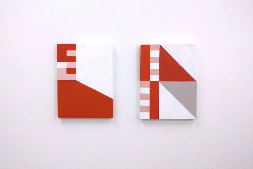 Construct III and IV, acrylic on timber, 2017, © Megan Hinton