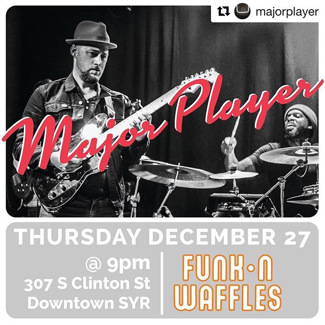 #Repost @majorplayer with @get_repost ・・・ Last show of the year tomorrow night friends. Get out to @funknwaffles for @majorplayer and @lateearth. Looking forward to seeing some #syracuse faces. We will have special guest John Blevins joining us on trumpet 🎺 • • 📸 @missethomas ✍🏻 @roseetea 🎺 @matterhornjazz • •  #majorplayer #upstatenewyork #retroaesthetic #drumer #drummajor #reverendguitars #doubleagent #funknwaffles #funknwafflesdowntown #lateearth