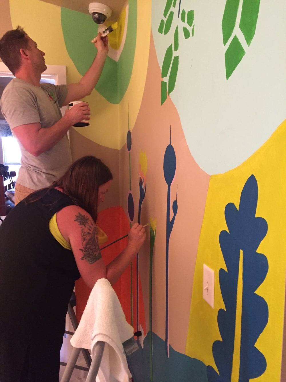 The mural creator, and my best friend, making every detail perfect. Thanks, Honey Thompson!!
