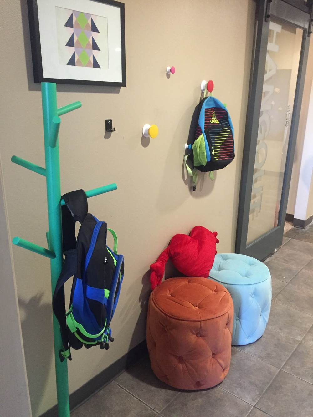 A nice place to hang your backpack and jacket by the front door