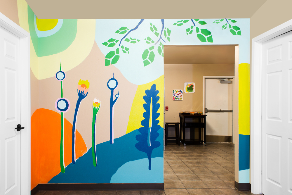 The central hallway's feature is most definitely this amazing mural, created by my BFF and artist, Honey Thompson.