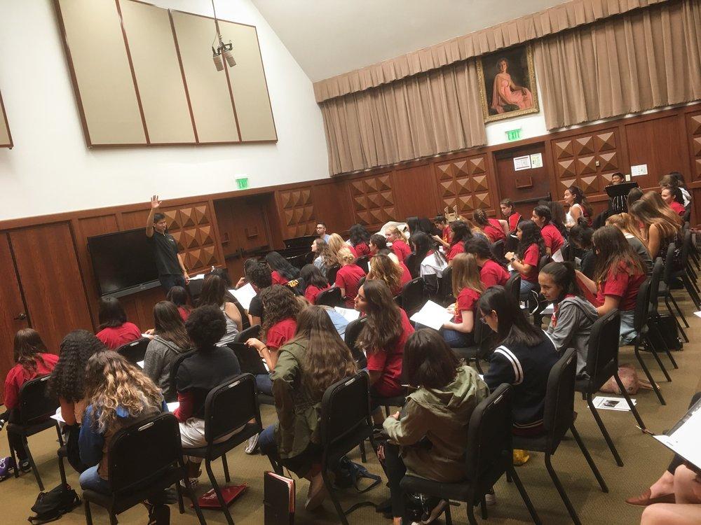 Daniel leads high school choir sectional for USC's annual Choral Leadership Festival