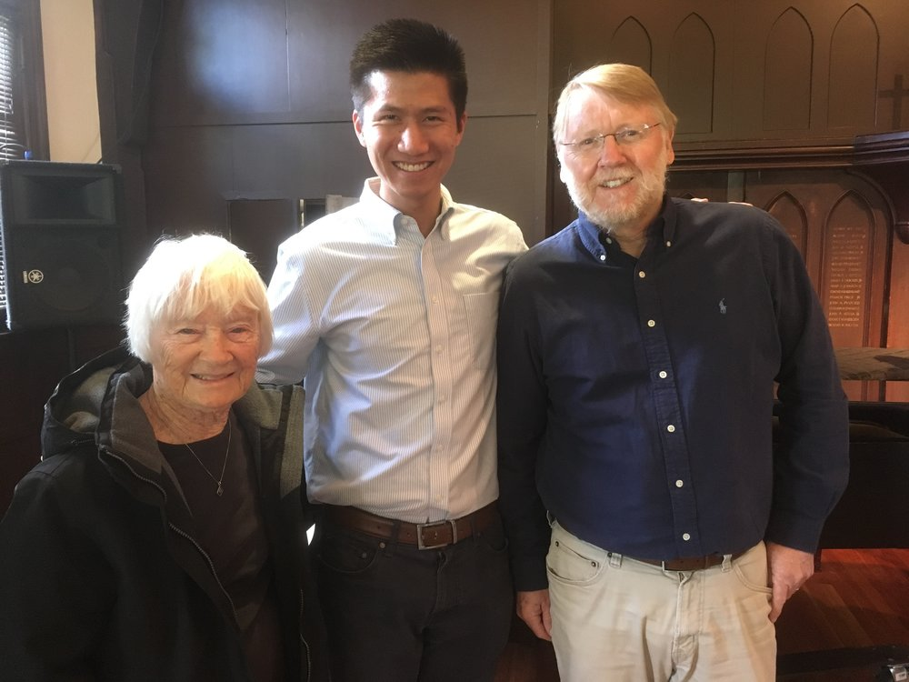 Daniel with composer Emma Lou Diemer and poet Paul Willis after performance by the USC Oriana Women's Choir of Diemer's commissioned work,   When You Wake   .