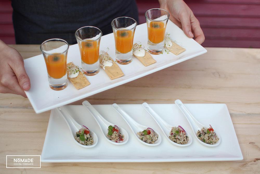 Tabbouleh + Sopa de calabaza, leche de coco y pasta de camarón
