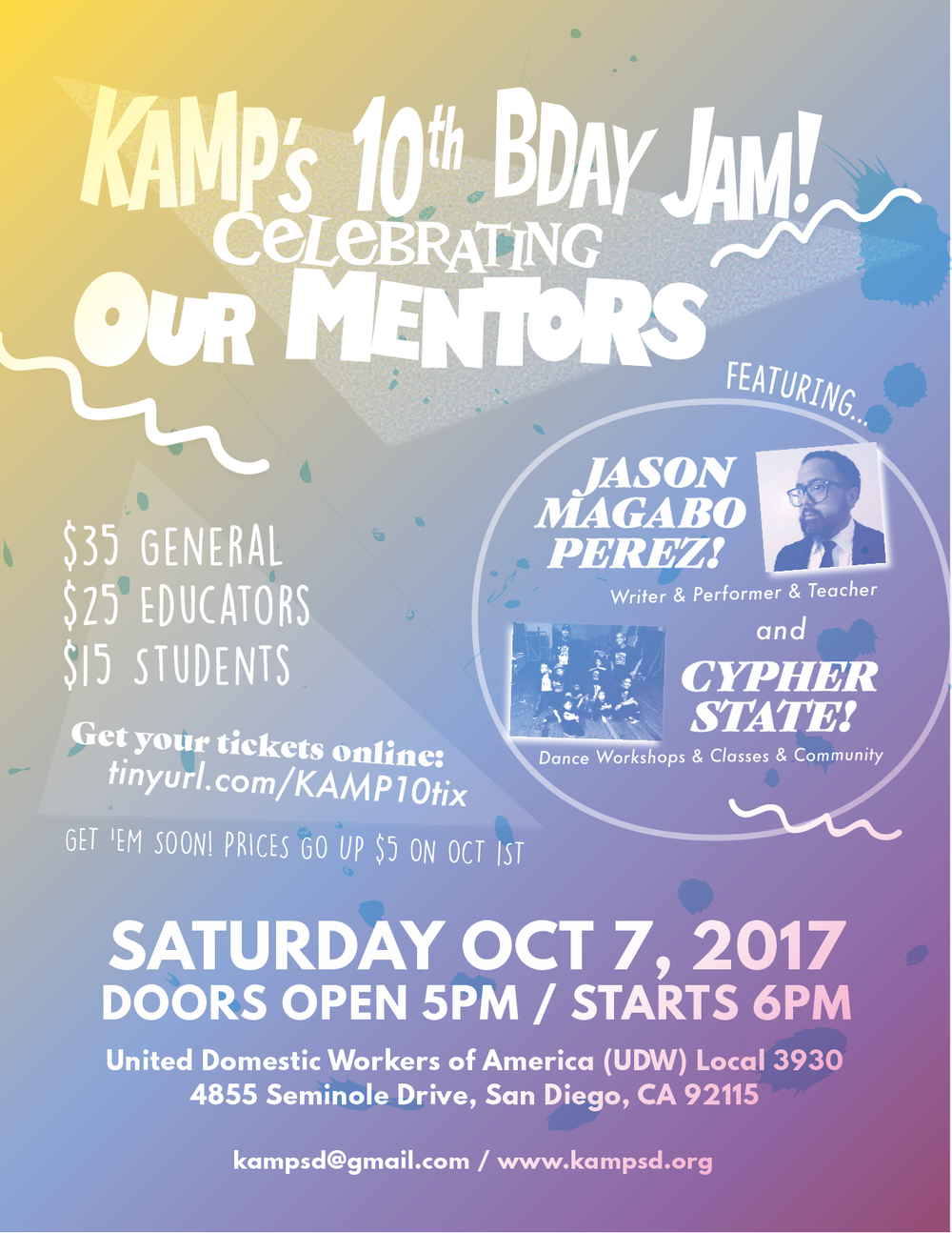 Flyer for KAMP's 10th Anniversary Event