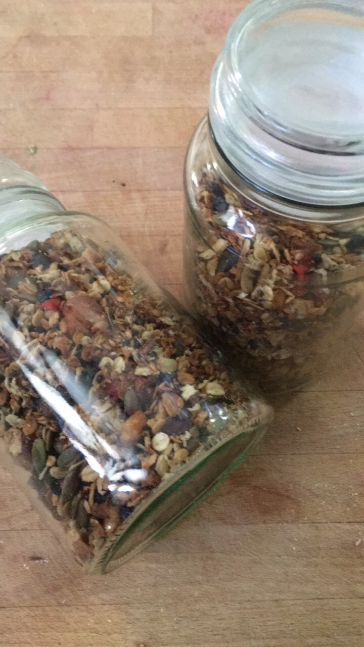 granola in jars