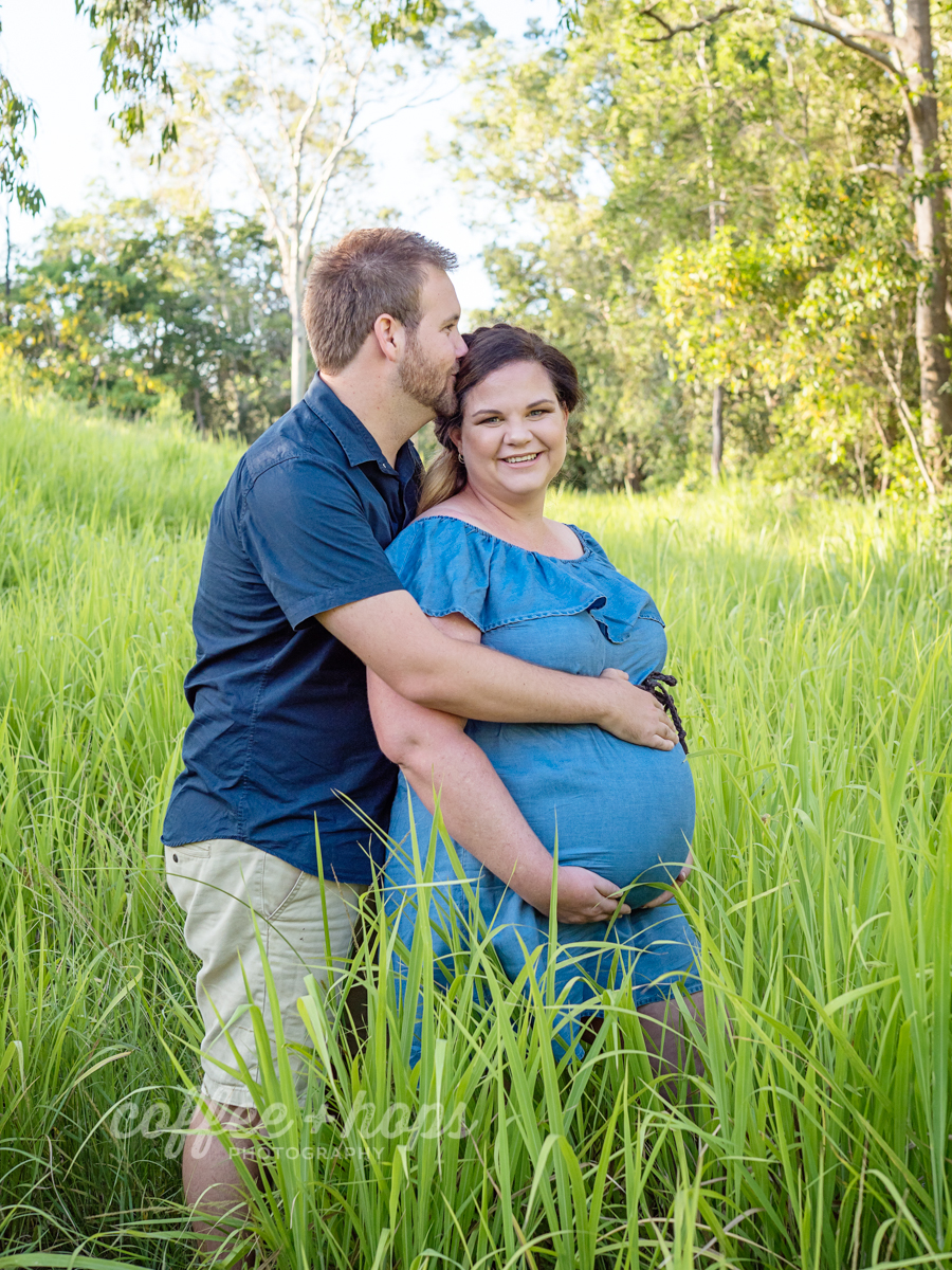 Hannah and Nathan during their maternity session on McGregor's Farm in Mackay