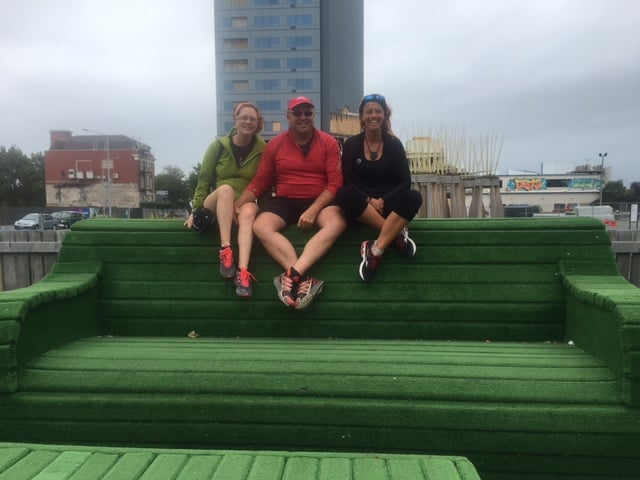 Donna, Gerard and Red on the big green couch