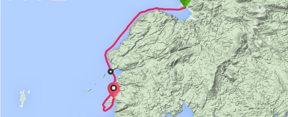 Distance:  25.66km          Time:  3:46:35      Avg Speed:  6.8kph          Calories:  1277