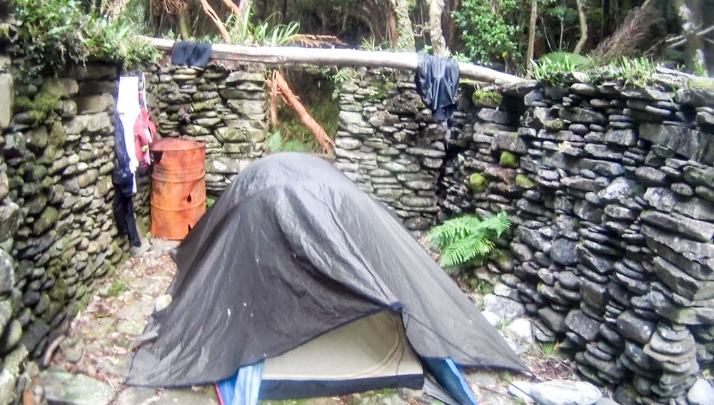 Red's tent in the stone cottage