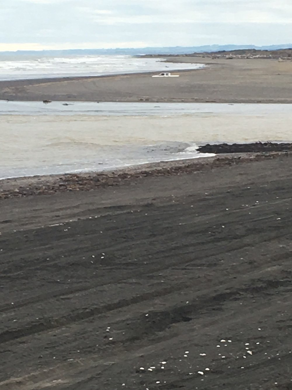 Black sands at Ohawe beach.