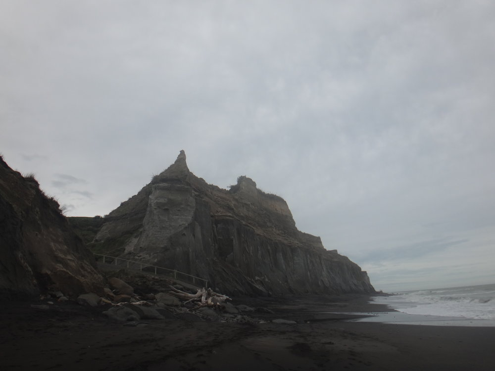 Waihi Beach South Taranaki. Such incredible cliffs.
